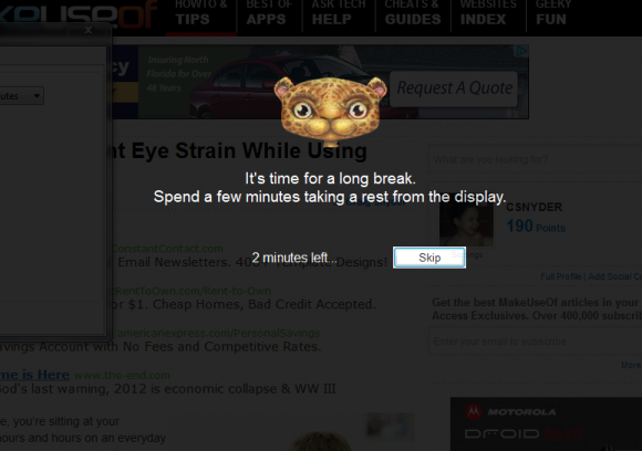 Break reminder to prevent eye strain while working